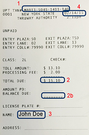 Example 1. Toll Receipt With UPT Number  Examples Of Receipts